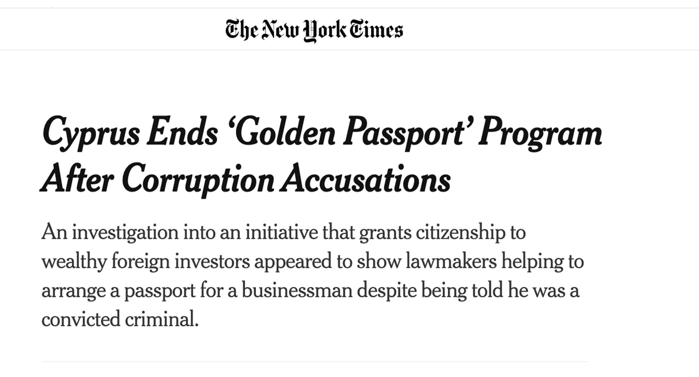 NYT: Cyprus Ends 'Golden Passport' Program