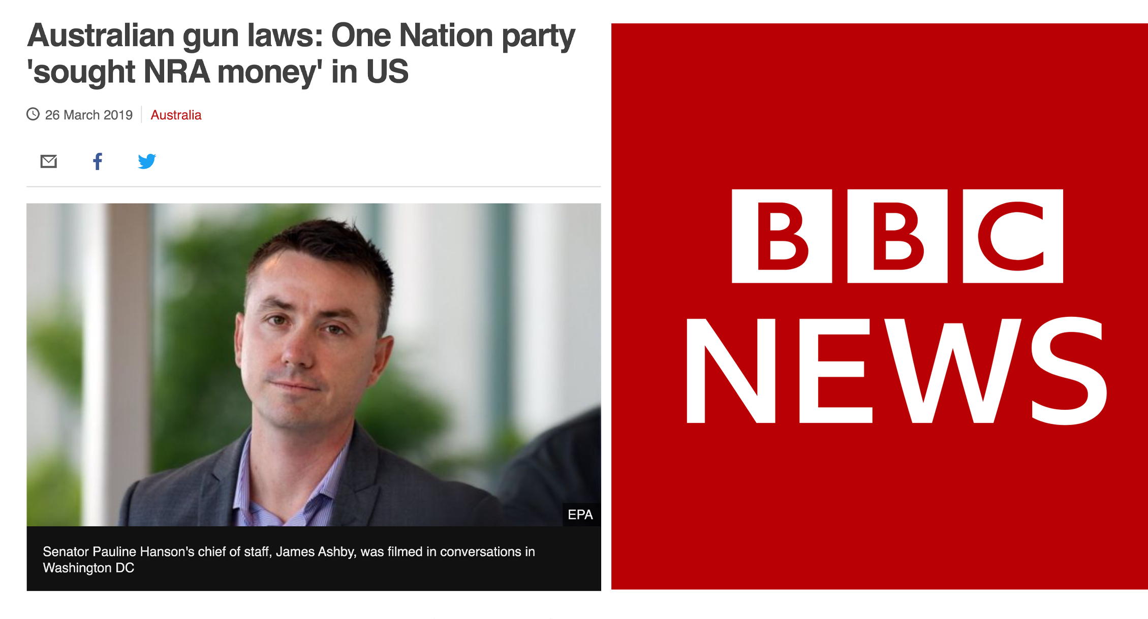 BBC: One Nation party 'sought NRA money'