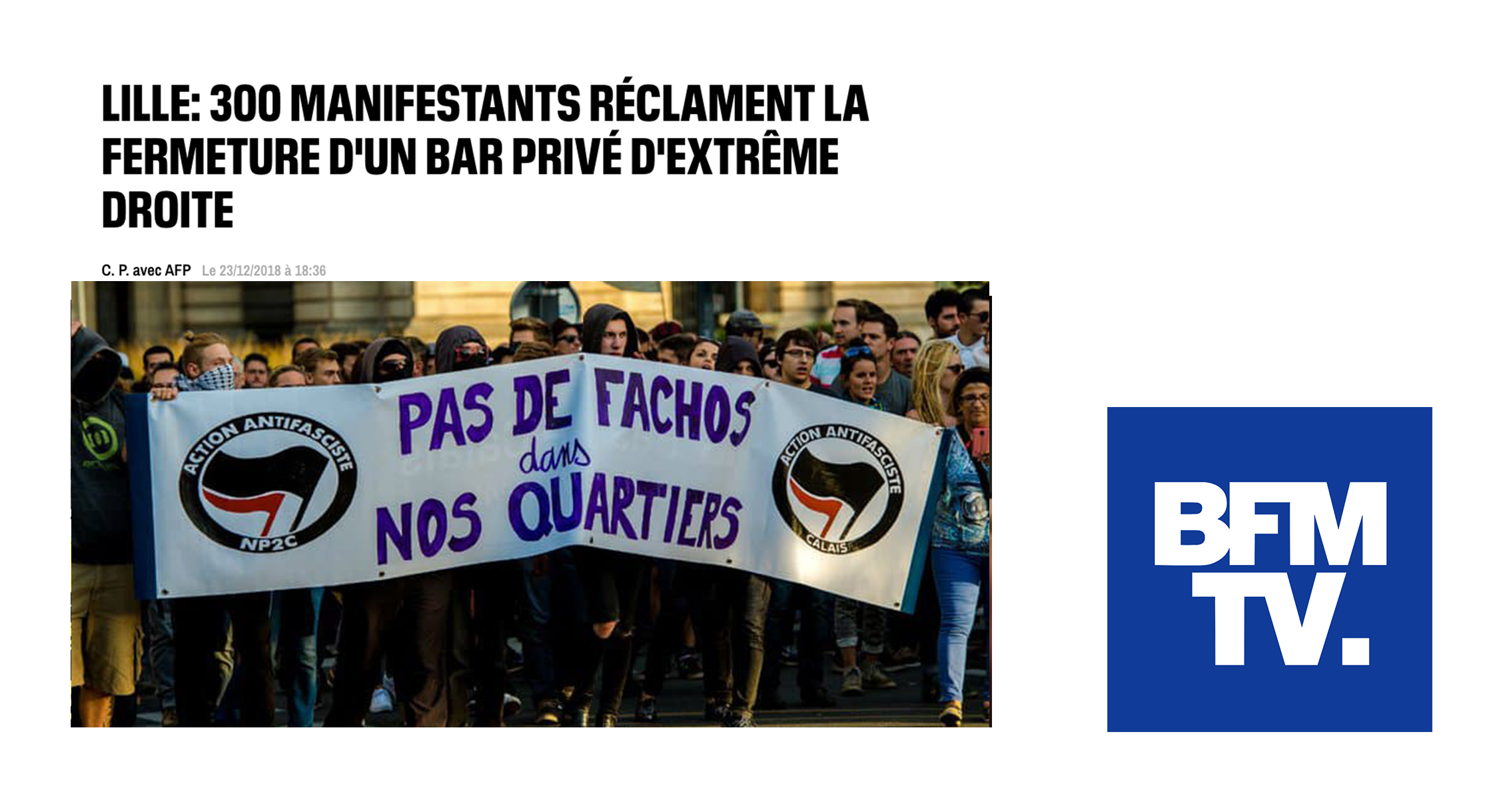BFMTV: 300 protesters demand closure of far-right bar
