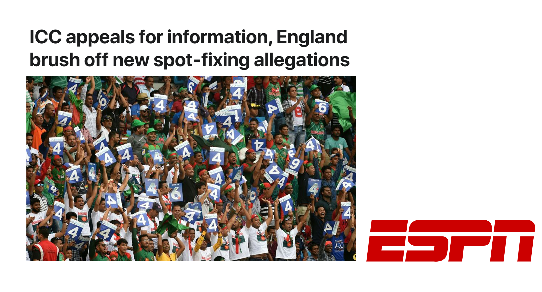 ESPN: ICC appeals for information, England brush off new spot-fixing allegations
