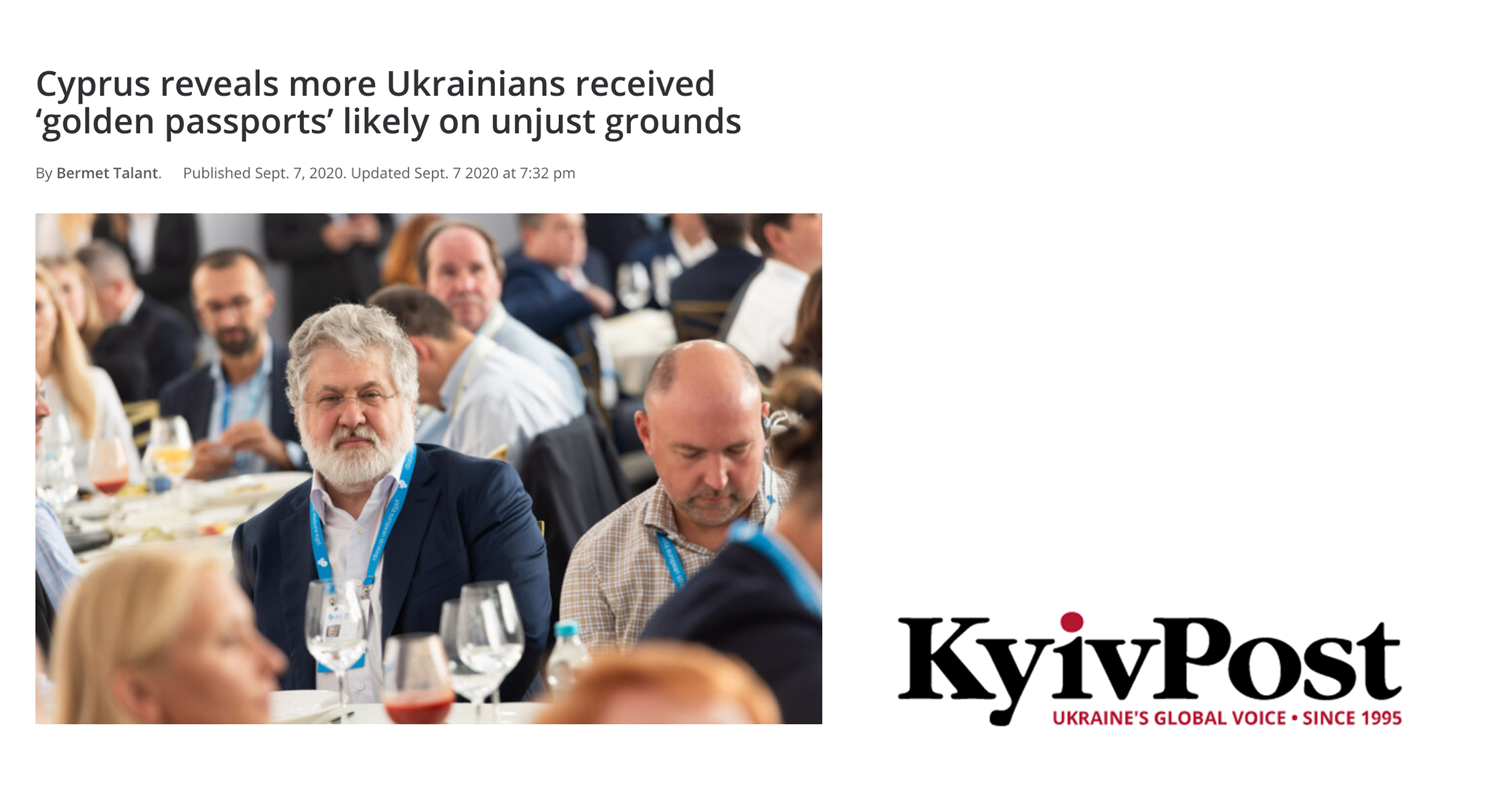 Kyiv Post: Cyprus reveals more Ukrainians received 'golden passports' likely on unjust grounds