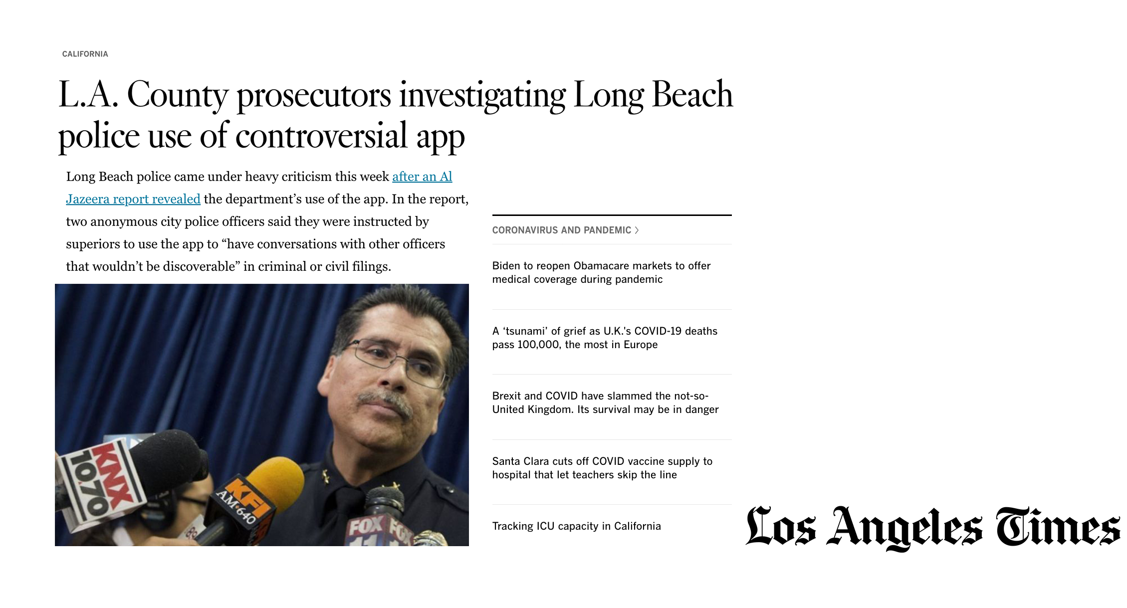 L.A. County prosecutors investigating Long Beach police use of controversial app