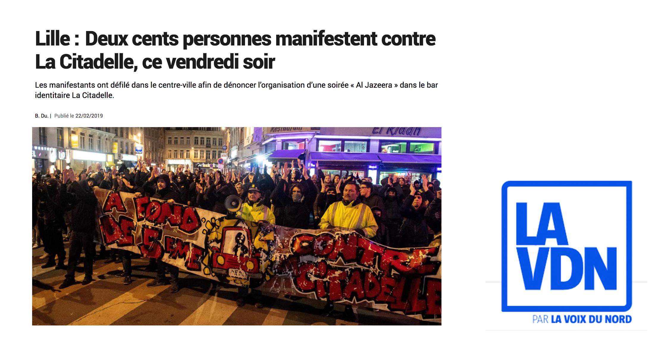 La Voix du Nord: Demonstrators protest against La Citadelle
