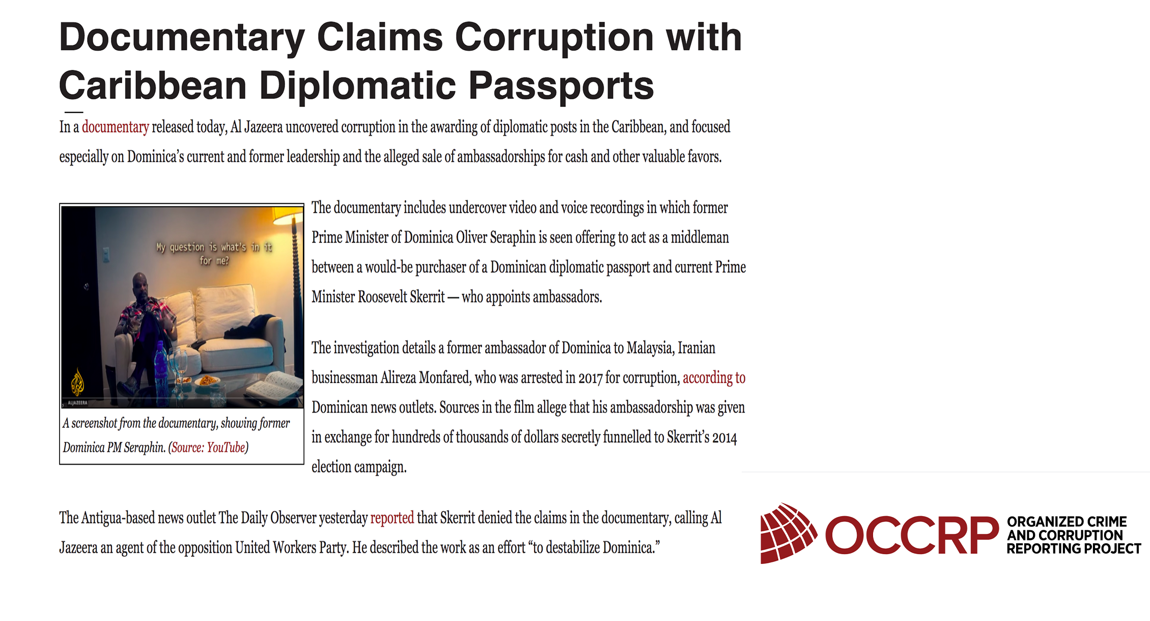 OCCRP: Documentary Claims Corruption with Caribbean Diplomatic Passports
