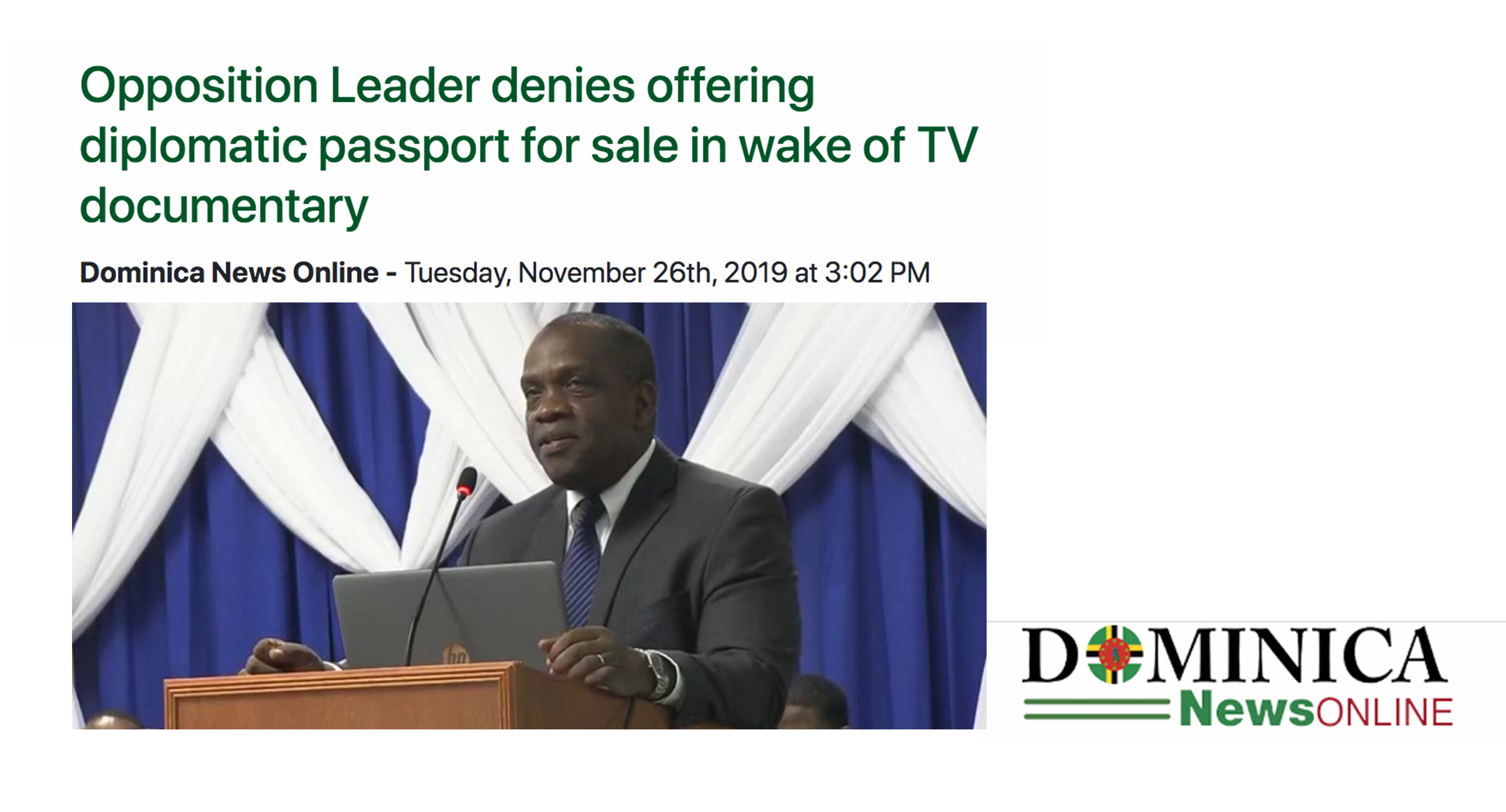 Dominica News Online: Opposition Leader denies offering diplomatic passport