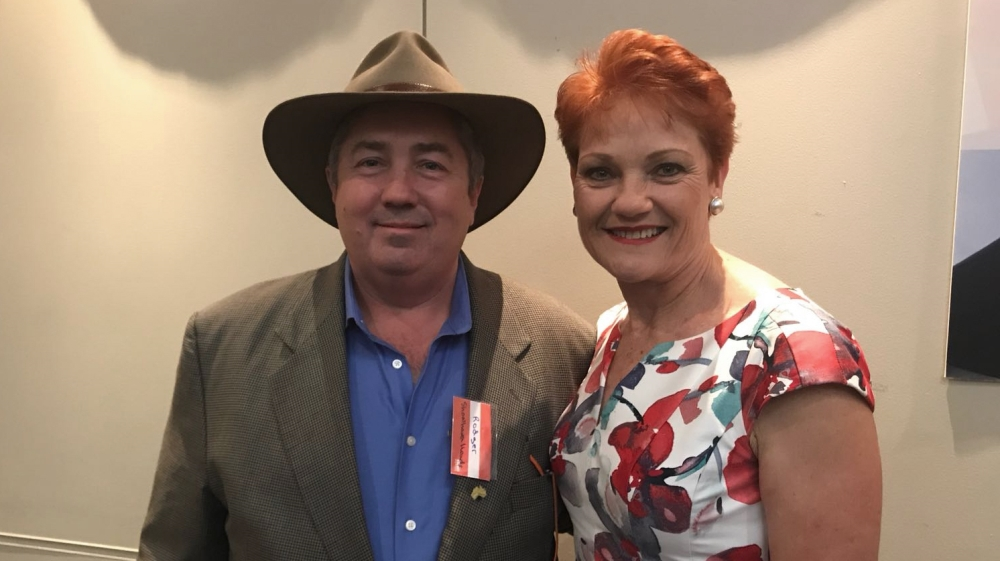 Rodger Muller, left, with Pauline Hanson, right, who leads Australia's far-right One Nation party [Al Jazeera]
