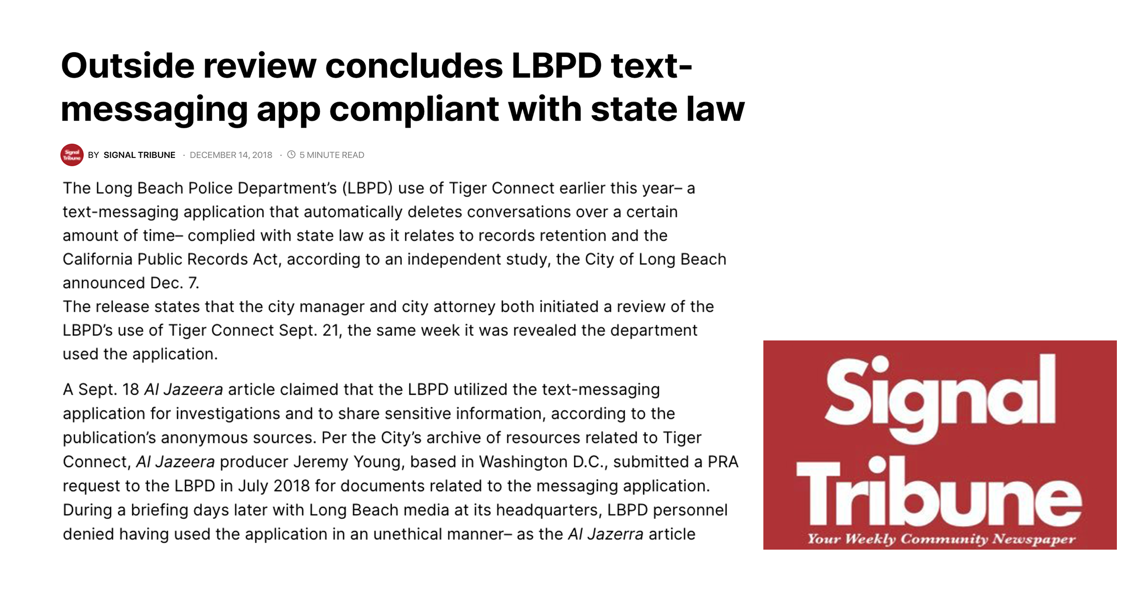 Outside review concludes LBPD text-messaging app compliant with state law