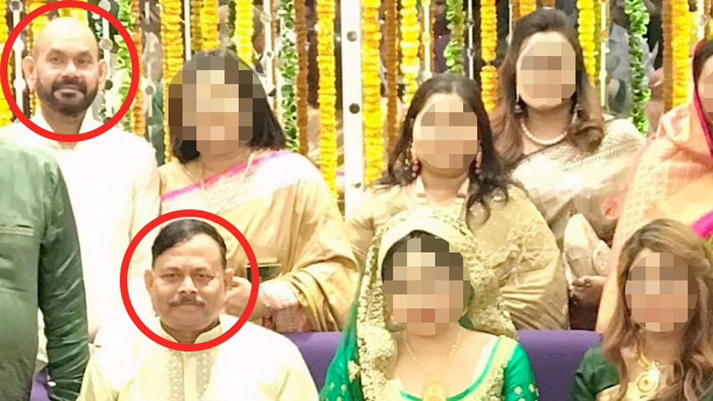 Haris Ahmed, top, wanted by Bangladesh police, shown with General Aziz Ahmed, bottom, at the Dhaka wedding for General Aziz' son in 2019. [Al Jazeera]